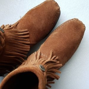 Minnetonka Suede Moccasin 292 High Top Fringe Boot